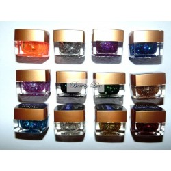 gel color cu sclipici hexagon set 12 miley